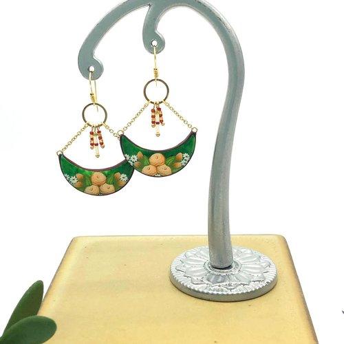 Boucles d'oreilles heirloom roses, 5 couleurs, fait main, en pâte polymère, motif roses anciennes, cadeau pour femme, maman, fille