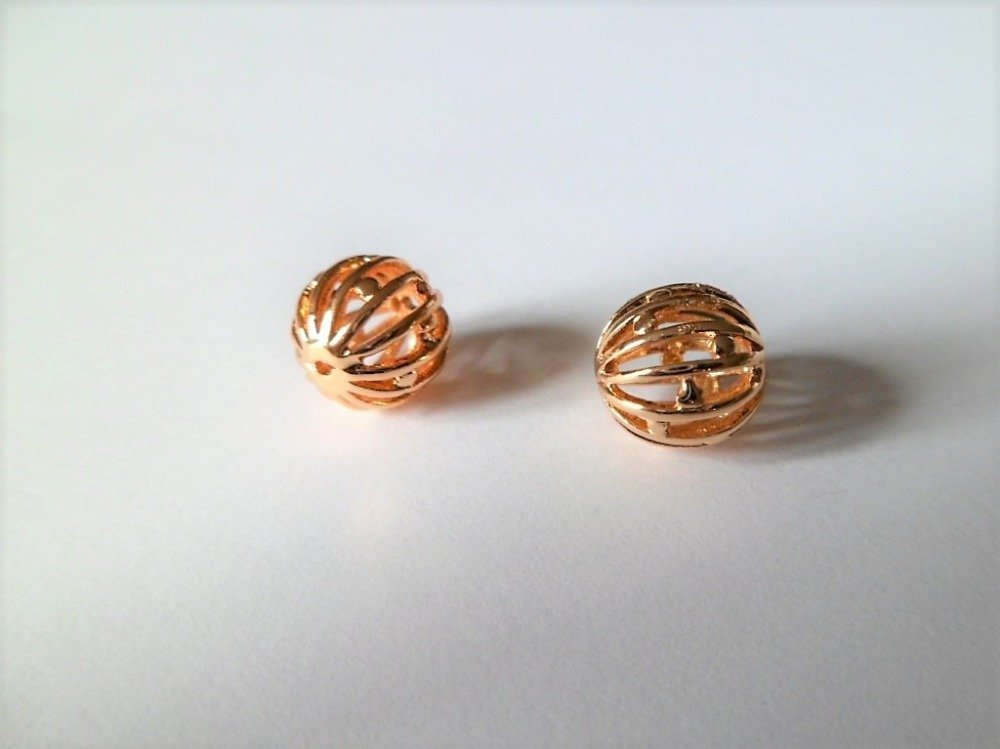 Perles sphères billes  filigrane plaqué or