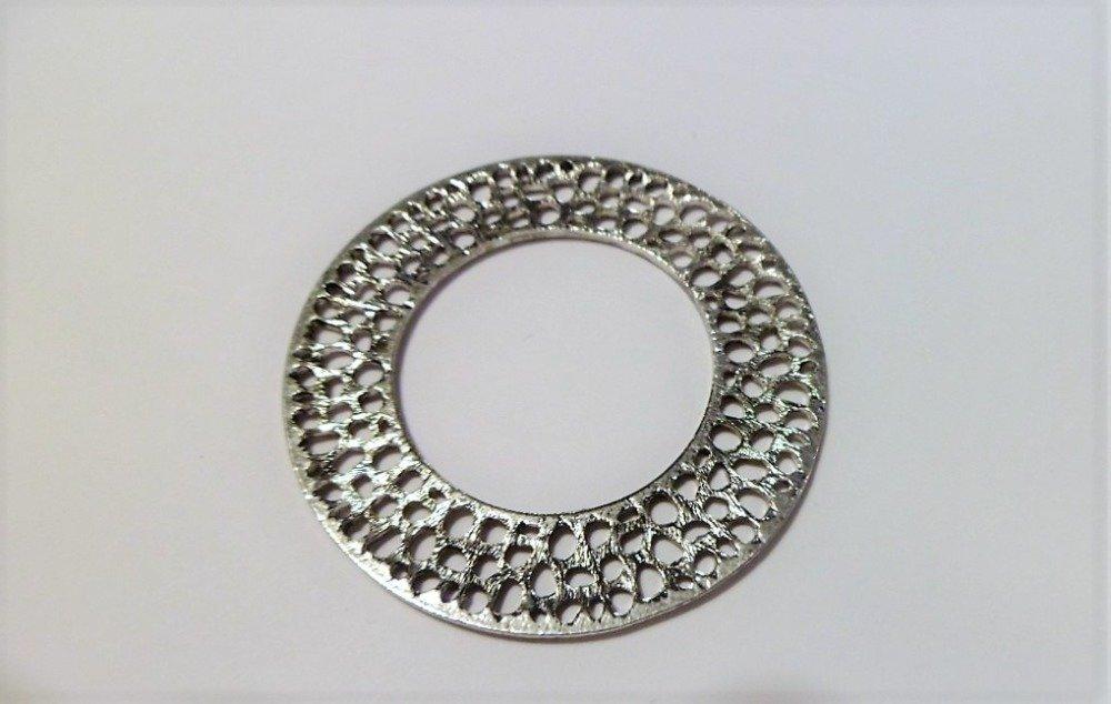 Anneaux ronds ajourés argent antique