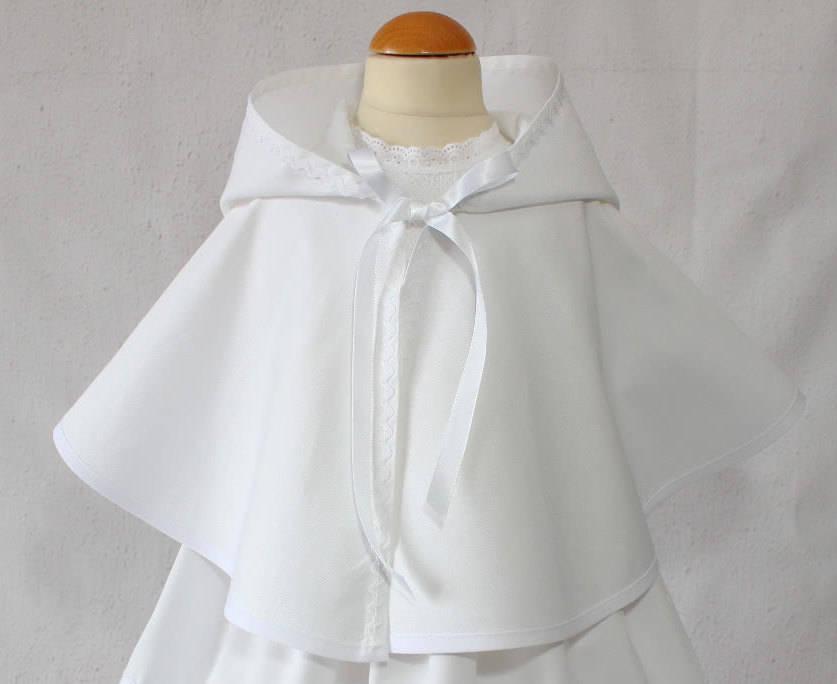 Cape Baptême avec capuche pour bébé garçon, Personnalisée, Baptême Bébé Garçon,Cape Blanche Bapteme