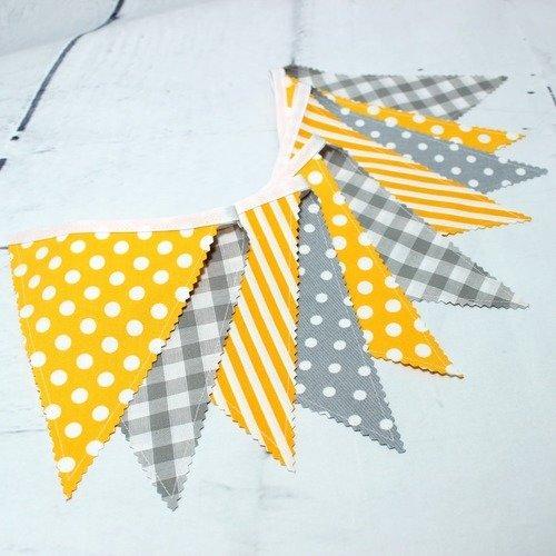 1 guirlande de fanions, décoration chambre bébé, jaune& gris ...