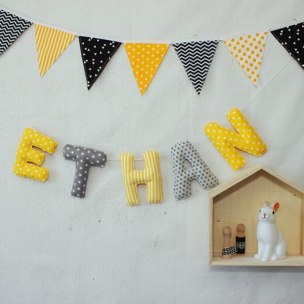 Fanion Chambre Bébé Garcon guirlande de fanions, décoration chambre bébé, jaune & gris, banderole,  déco fête enfant
