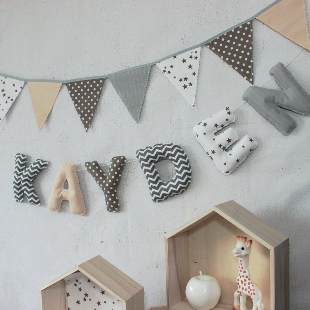 Déco chambre bébé, prénom bébé,15 letters en tissu,guirlande prénom,cadeau  de naissance,bébé garçon