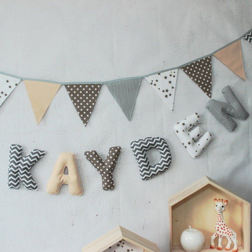 Déco chambre bébé, prénom bébé,16 letters en tissu,guirlande prénom,cadeau  de naissance,bébé garçon