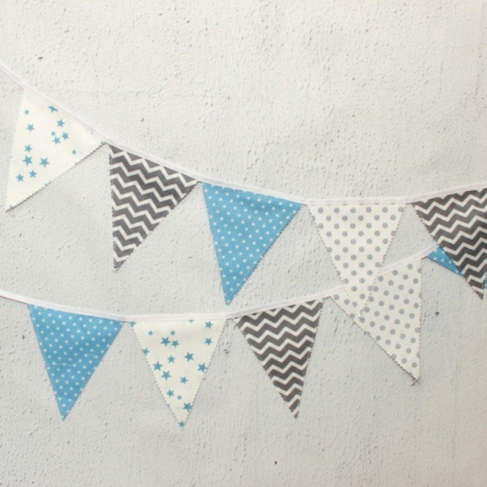 Fanion Chambre Bébé Garcon guirlande de fanions bleu, décoration chambre bébé garçon,  banderole,bapteme garçon, déco fête enfant