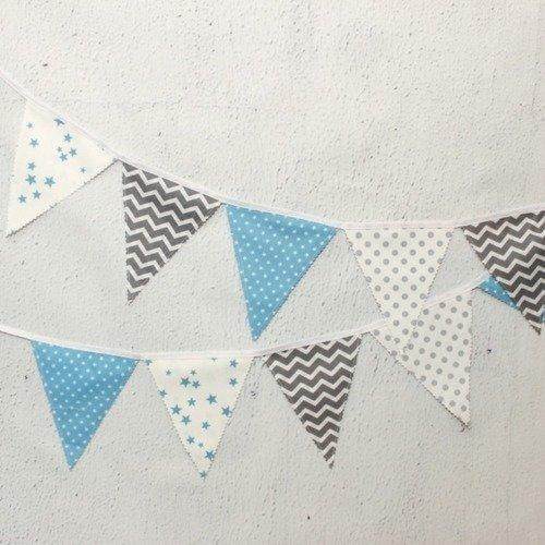 Guirlande de fanions bleu, décoration chambre bébé garçon ...