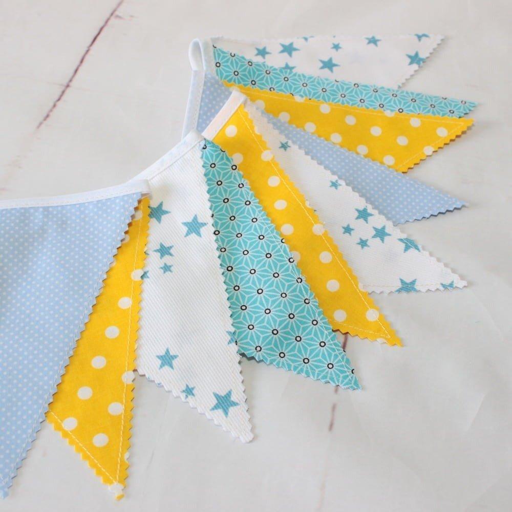 Guirlande de fanions, décoration chambre bébé,bapteme garçon, banderole  fanions,guirlande tissu, scandinave, cadeau naissance
