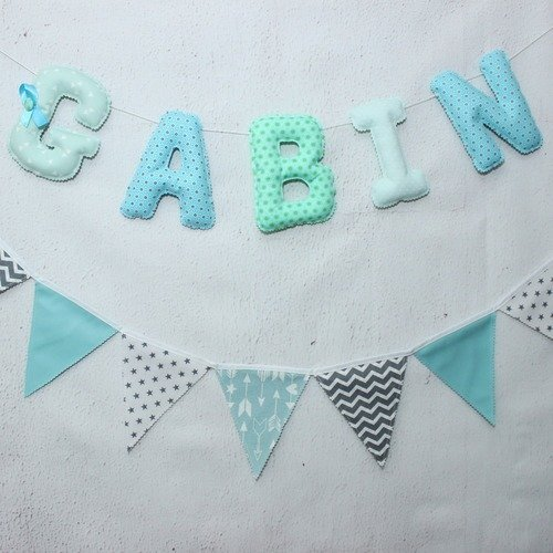 Déco chambre bébé, vert d\'eau & mint, bleu, prénom bébé,5 letters en  tissu,guirlande prénom,cadeau de naissance,bébé garçon