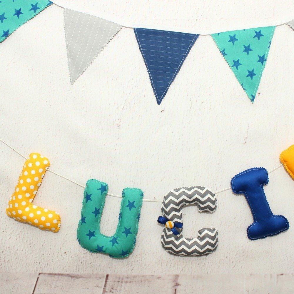 Guirlande prénom, bleu marine & jaune, letters en tissu pour chambre bébé,  cadeau naissance ou bapteme bébé garçon