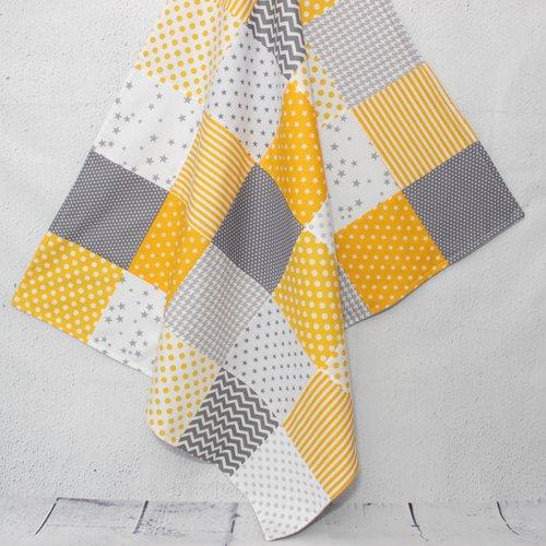 Couverture bébé style patchwork, jaune et gris, cadeau naissance bébé  garcon, déco chambre bébé, couverture naissance