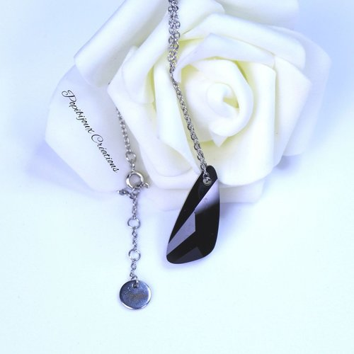 Collier ras de cou aile cristal noir