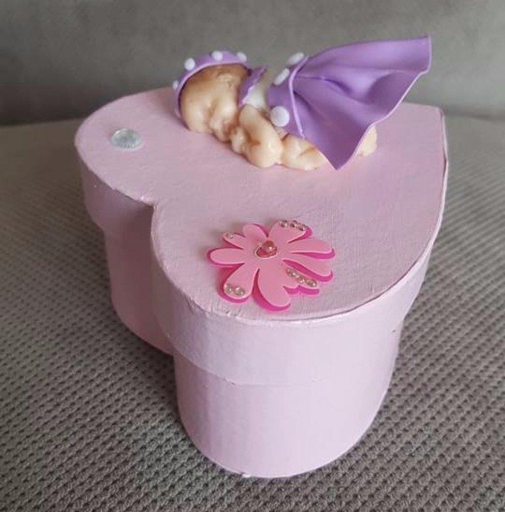 Boîte à bijoux bébé rose fimo