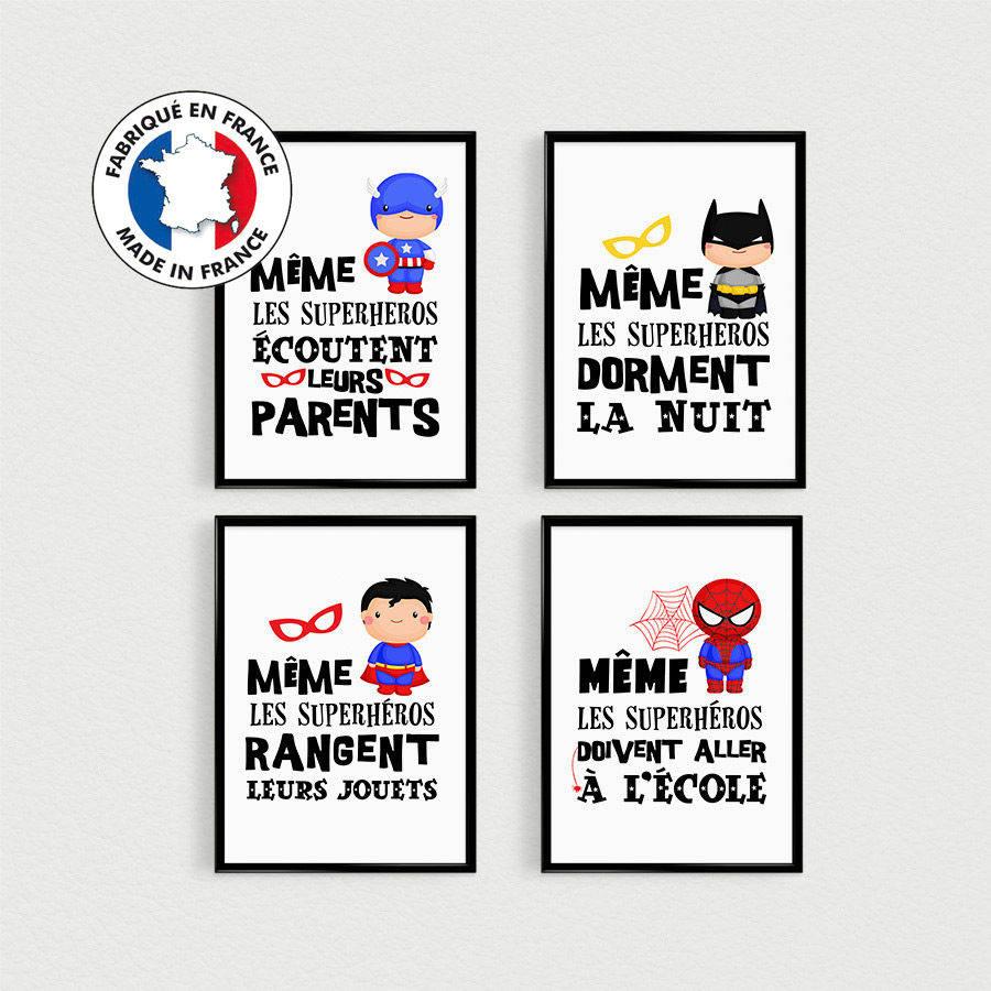 Promo Lot De 4 Posters Citations En Francais De Super Heros Pour