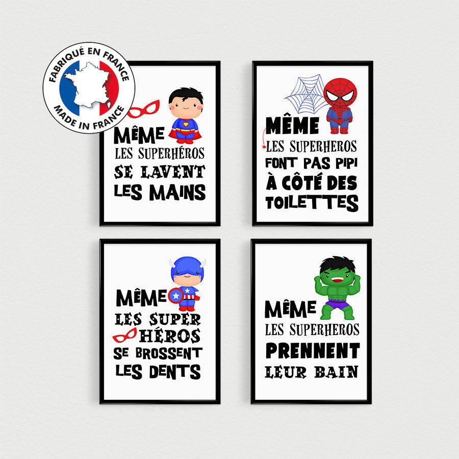 Promo Lot De 4 Posters Citations Super Heros Enfant A Disposer