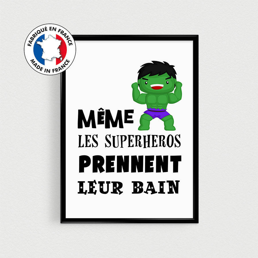 PROMO : Lot de 4 Posters Citations super héros enfant à disposer encadré dans une salle de bain - Affiche citation en français