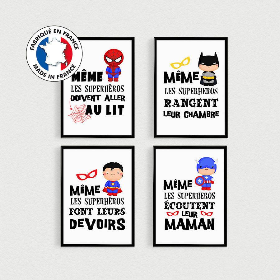 Image Pour Mettre Dans Un Cadre promo: lot de 4 posters 21x30cm citations en français de super héros pour  enfant à mettre en cadre dans une chambre - affiche scandinave