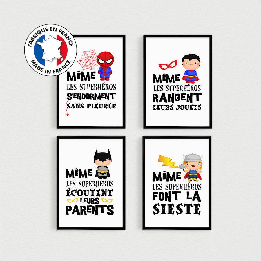 Promo Lot De 4 Posters Citations Super Heros Pour Enfant Dans Une