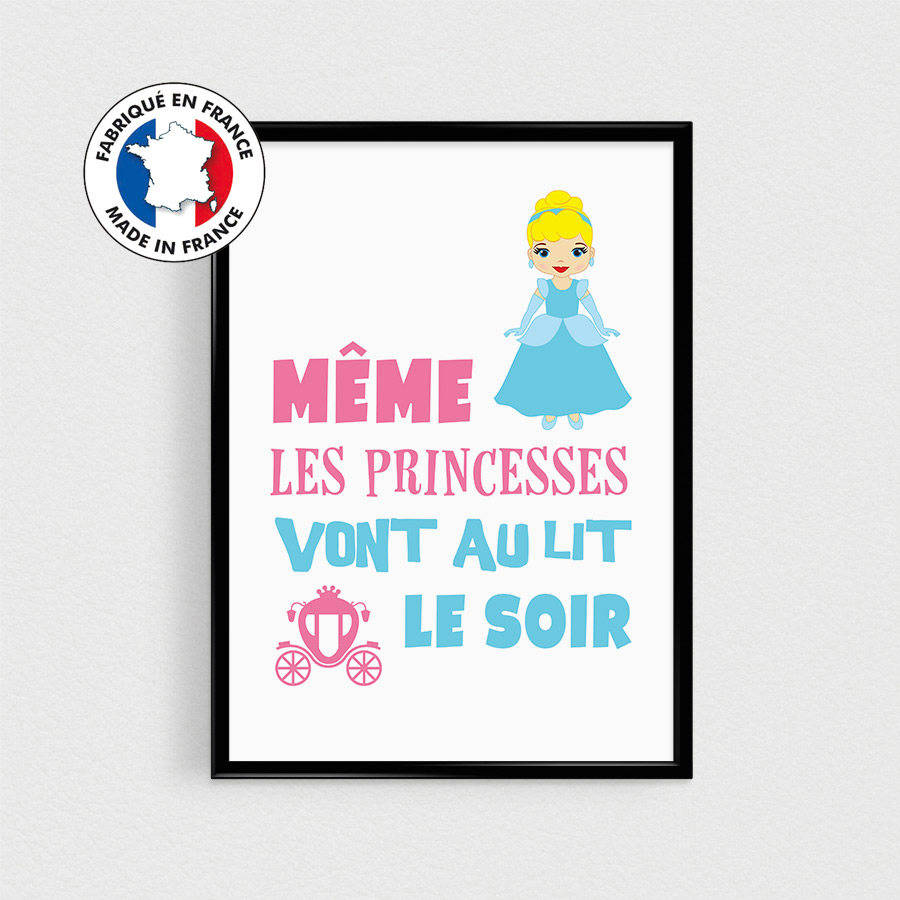 Affiche citation Princesse - poster pour enfant - esprit scandinave poster A4 humour couleurs - décoration princesses