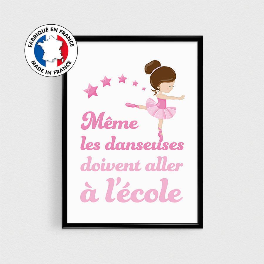 Affiche citation en français Danseuse étoile - 21x30cm - affiche pour enfant - esprit scandinave - humour couleurs - chambre d'enfants
