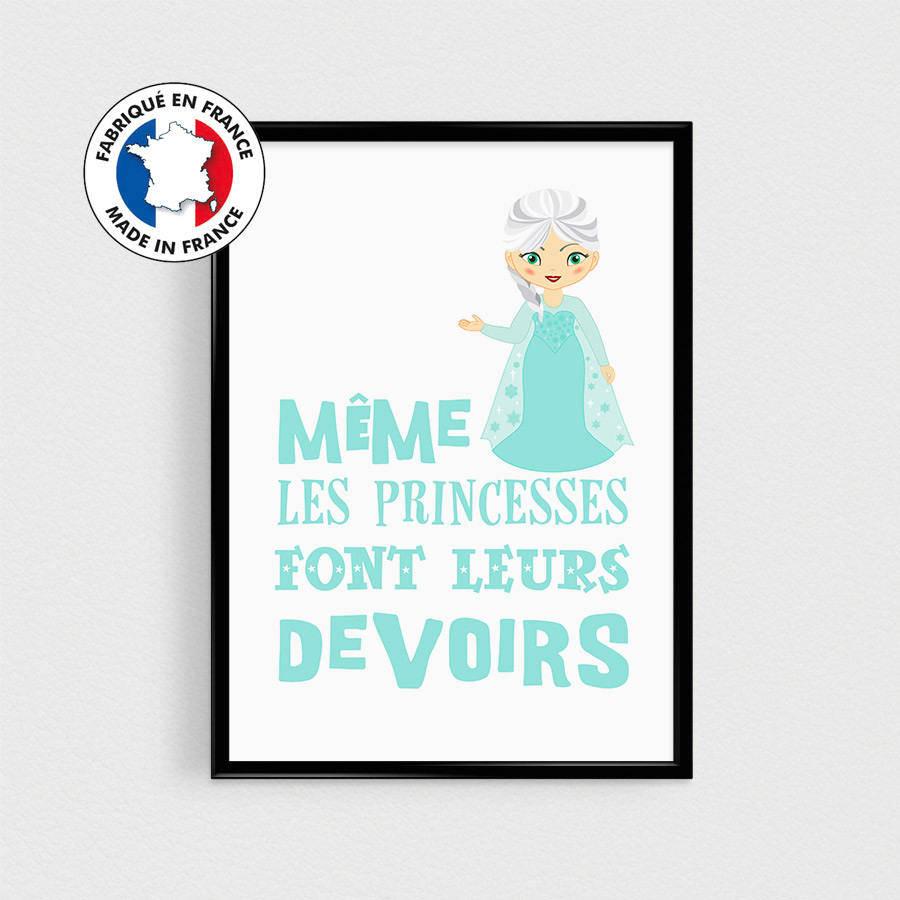 Poster Princesse 21x30cm - Affiche citation en français scandinave pour enfant - Illustration de princesse des glaces