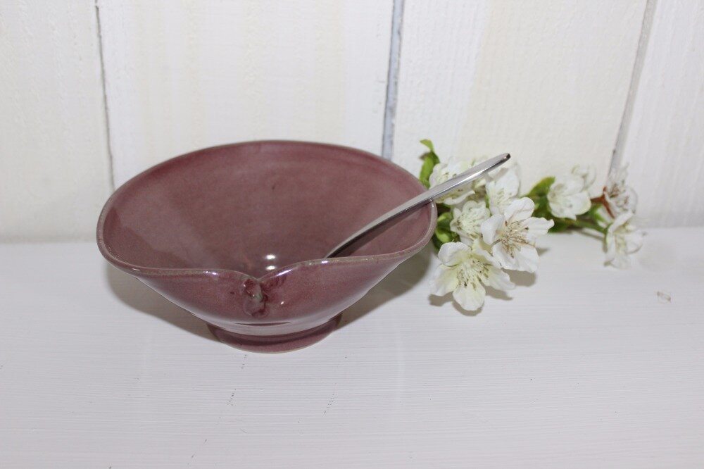 coupe en céramique, coupelle en poterie, bol en grès, bol en poterie couleur rose