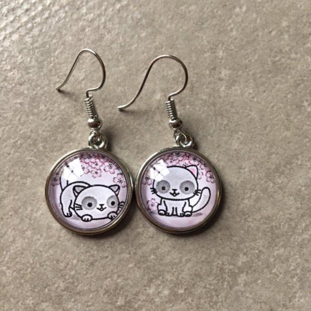 Kawaii - 4 paires Boucles d'oreilles pendantes enfants argent cabochon verre 16mm