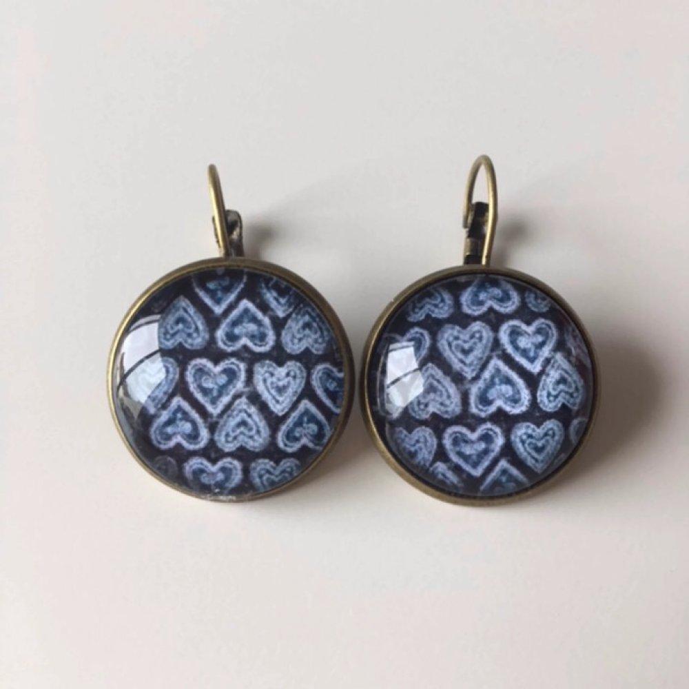 Bleu / Coeur / Amour - Boucles d'oreilles dormeuses bronze cabochon verre 20mm