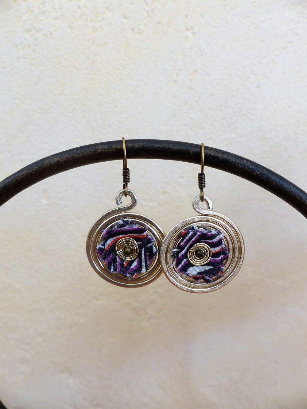 boucles d'oreilles spirales ivoires-liberty motifs géométriques