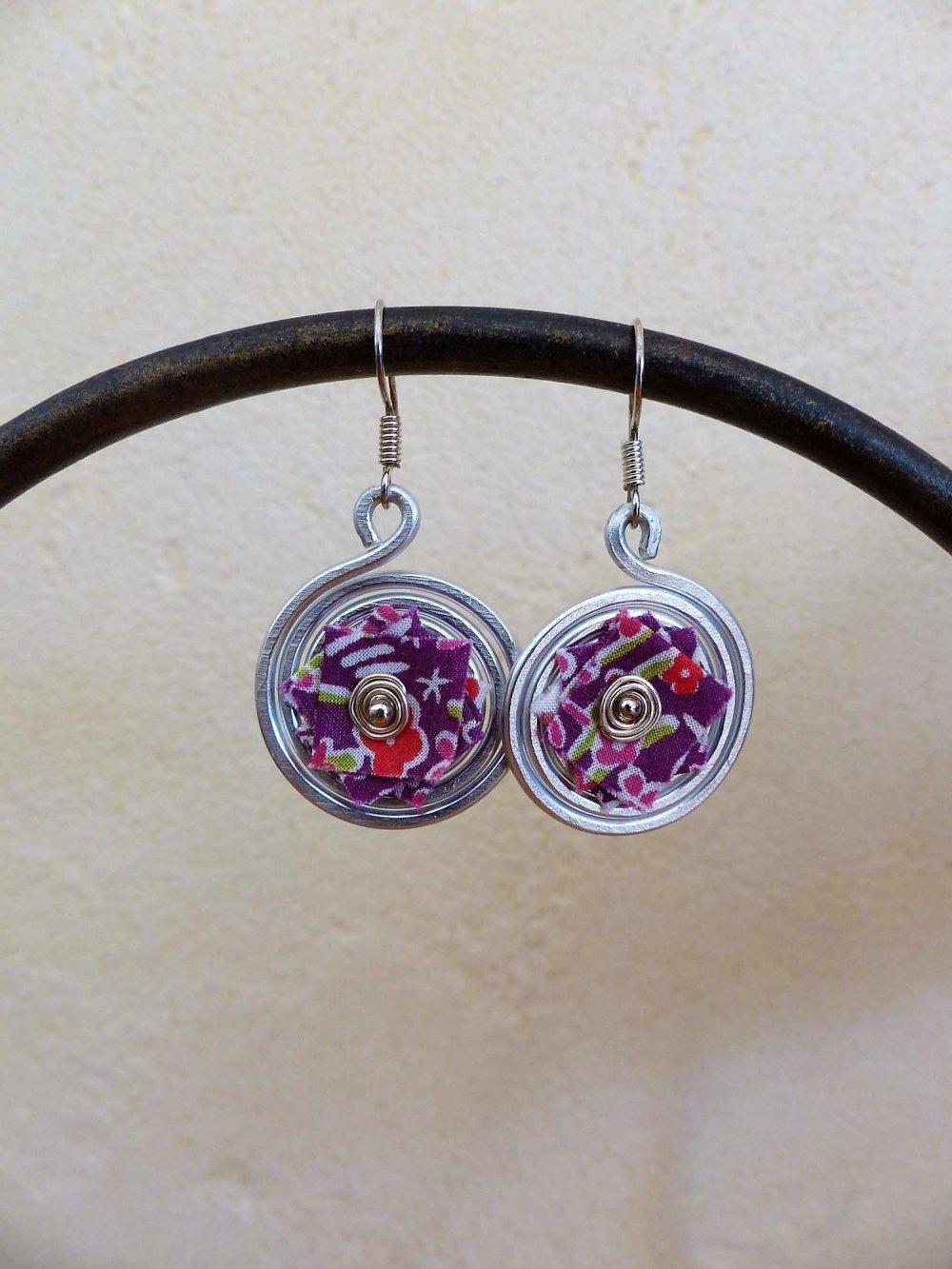 boucles d'oreilles spirales argentées-liberty fleuri violet