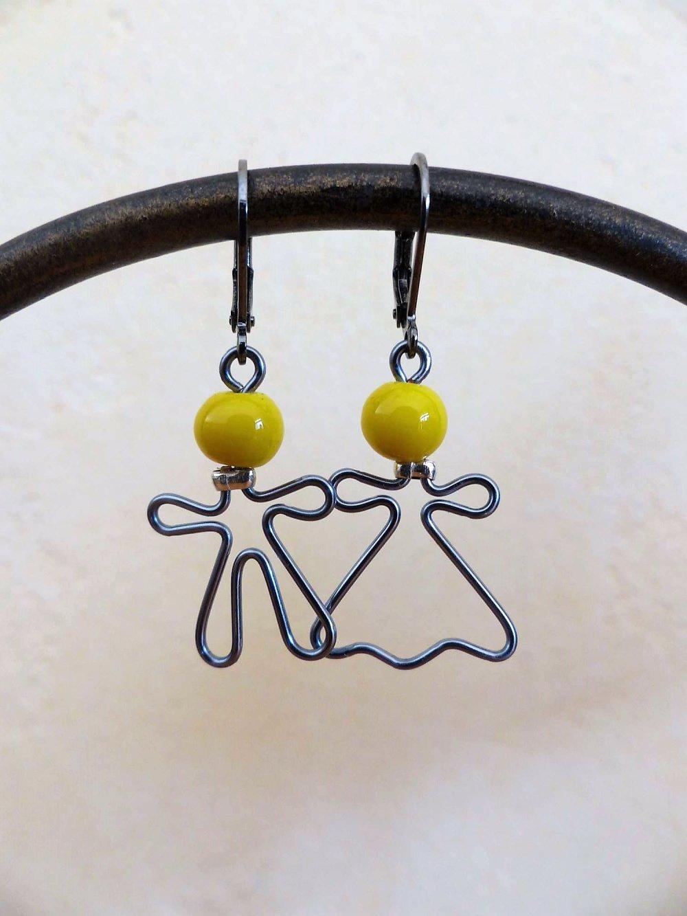 boucles d'oreilles Mr-Mme grises têtes jaunes