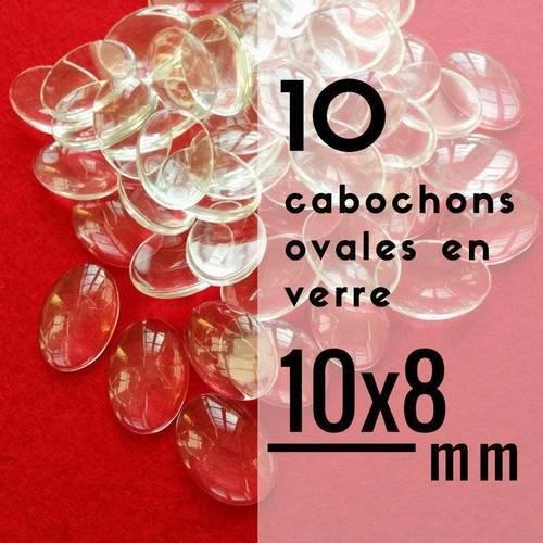 10 cabochons en verre ovales - 8 x 10 mm - 10 x 8 mm - lot de 10