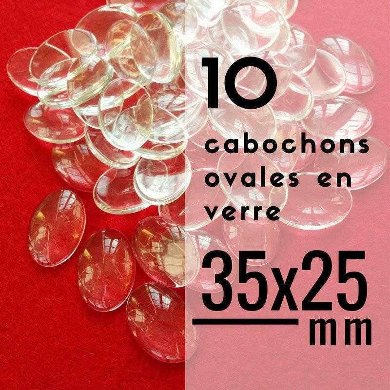 10 cabochons en verre ovales - 35 x 25 mm - 25 x 35 mm - Lot de 10