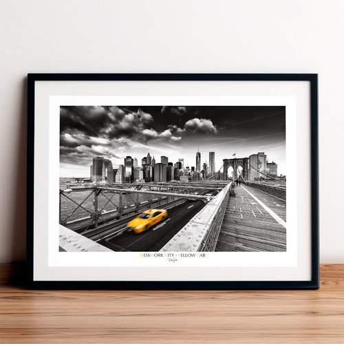 Affiche / poster - yellow cab, new-york city. imprimée sur papier satiné 250 g/m2.