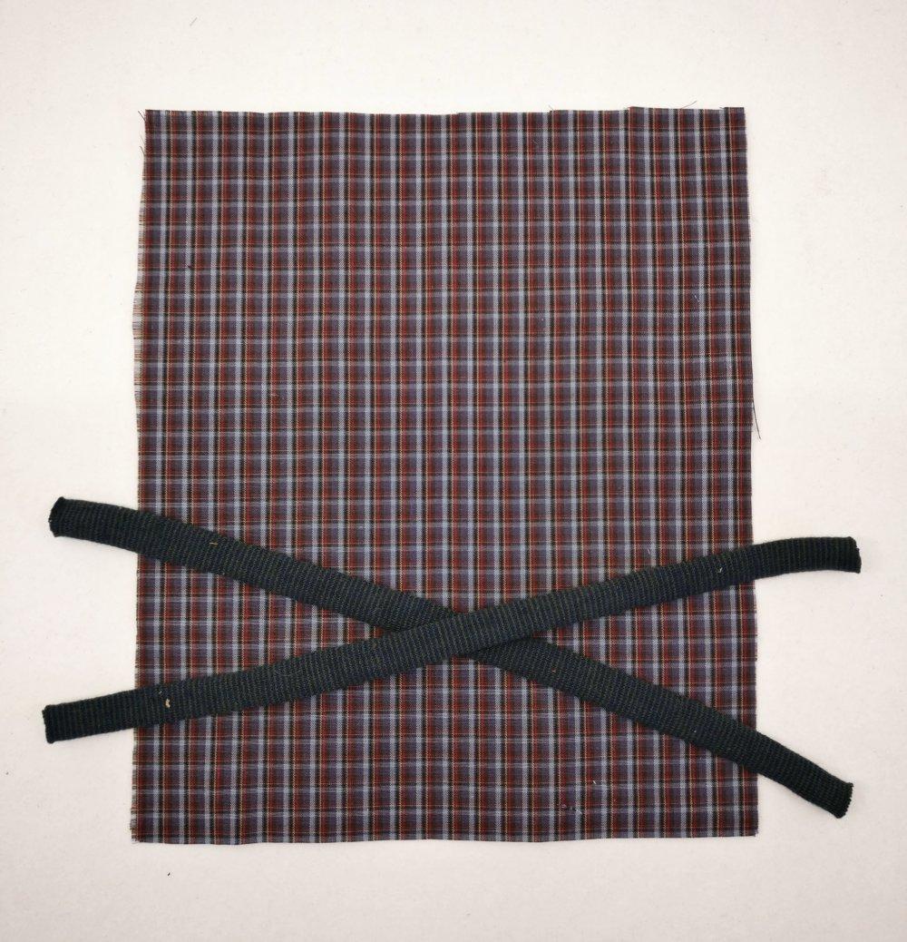 Kit pour création de masque de protection enfant - petits carreaux bleu/rouge