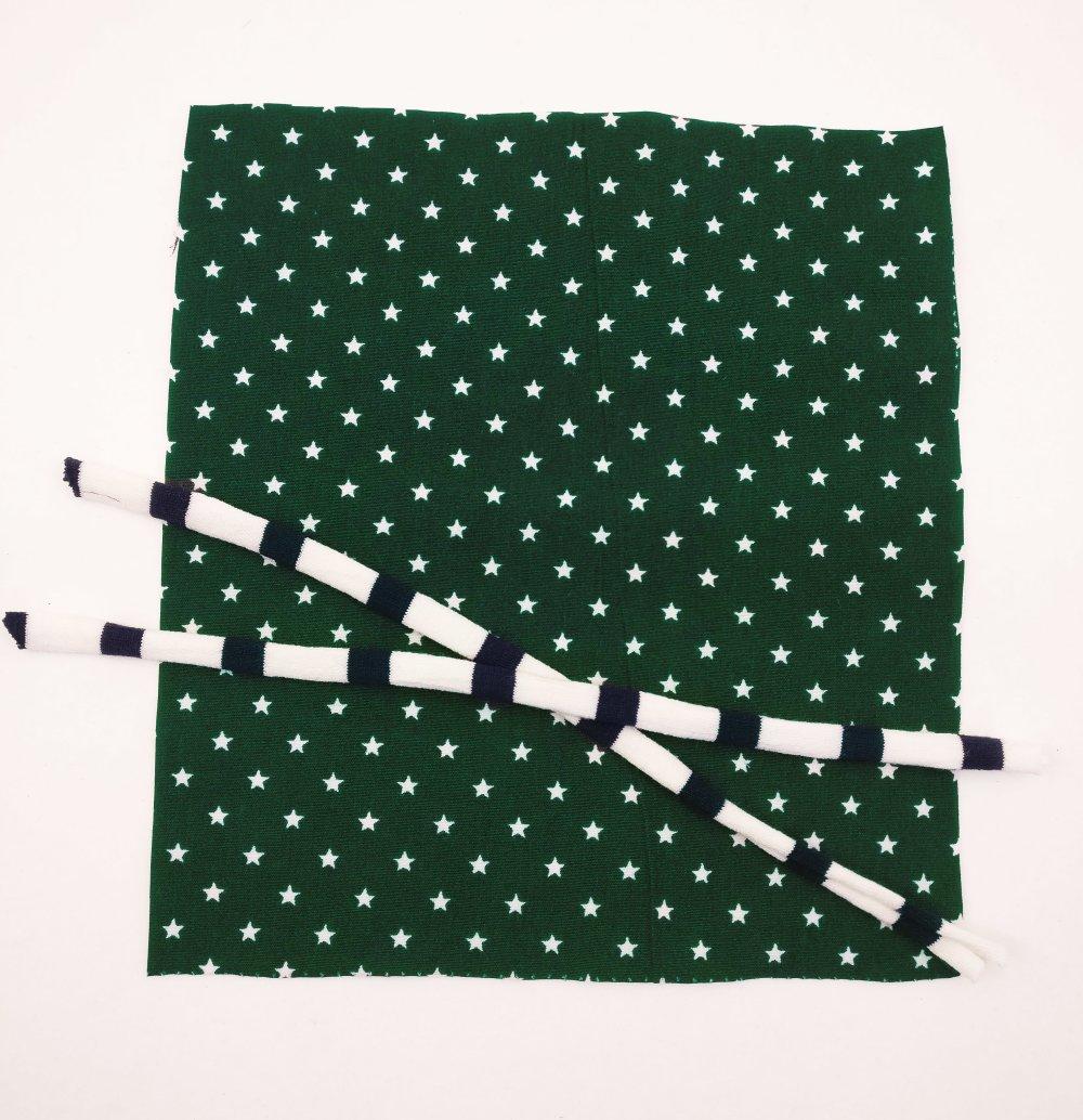Kit pour création de masque de protection enfant - vert étoiles blanches