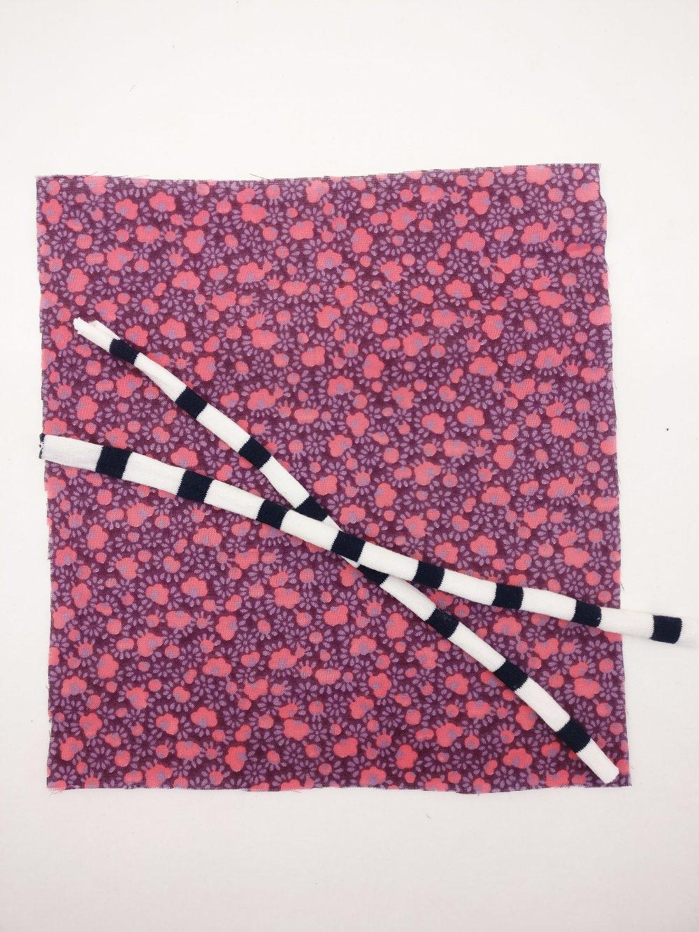 Kit pour création de masque de protection enfant - fleurs violet rose