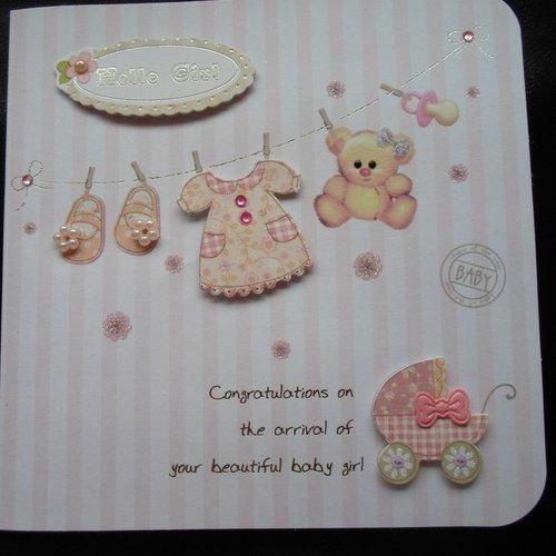 Carte De Voeux Felicitations Naissance Bebe Fille