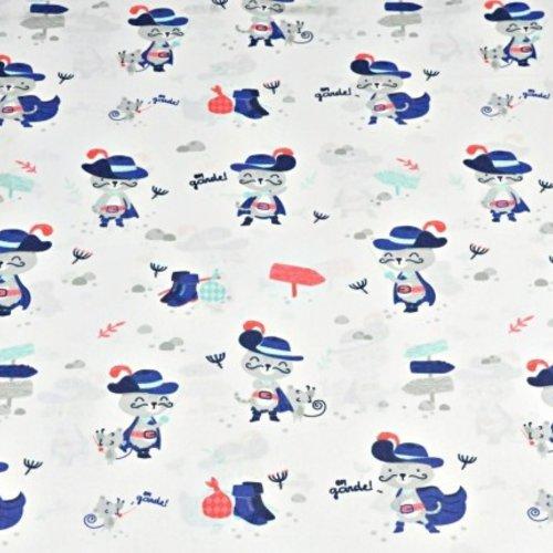 Tissu motif chat mousquetaire 100% coton