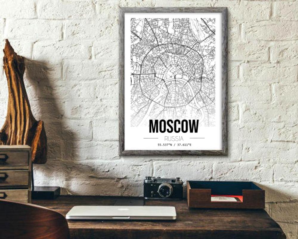 Affiche cartographie de Moscou à imprimer -  Poster, décoration murale, art, ville