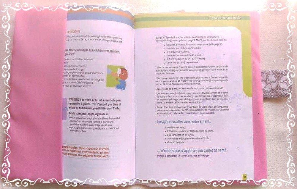 Protège carnet de santé personnalisable avec tissu, simili cuire