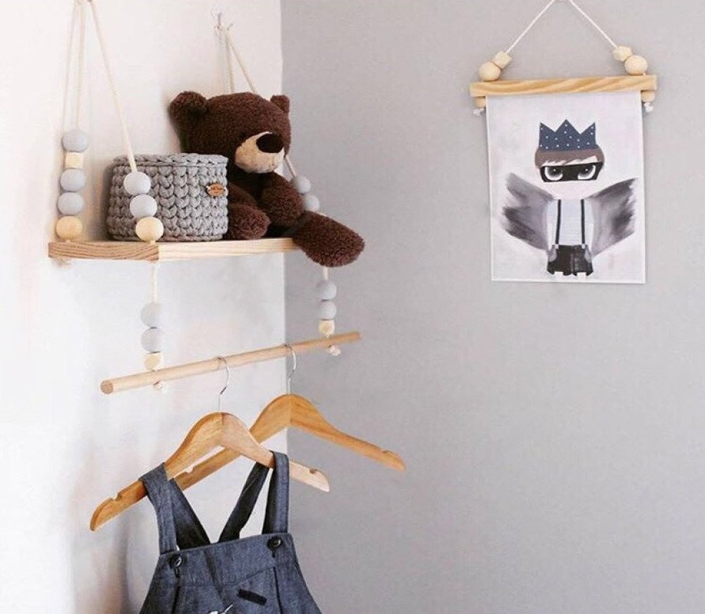 Balançoire étagère,en bois décoration chambre bébé, perle couleur, style  nordique, suspension, portique en bois