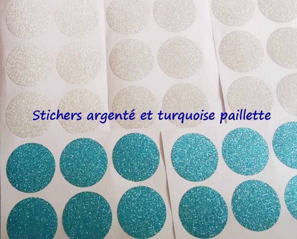 Stickers décoration muraux , stickers rond argenté paillette et turquoise paillette
