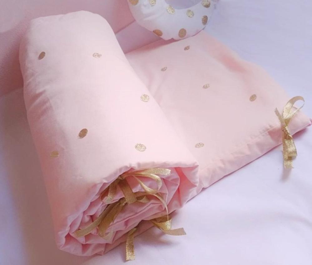 Tour de lit bébé fille rose pâle, et pois rond doré paillette 200 x 40 cm
