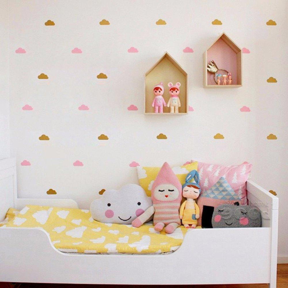 stickers nuage couleur or et rose poudré, mixte de couleur, décoration muraux
