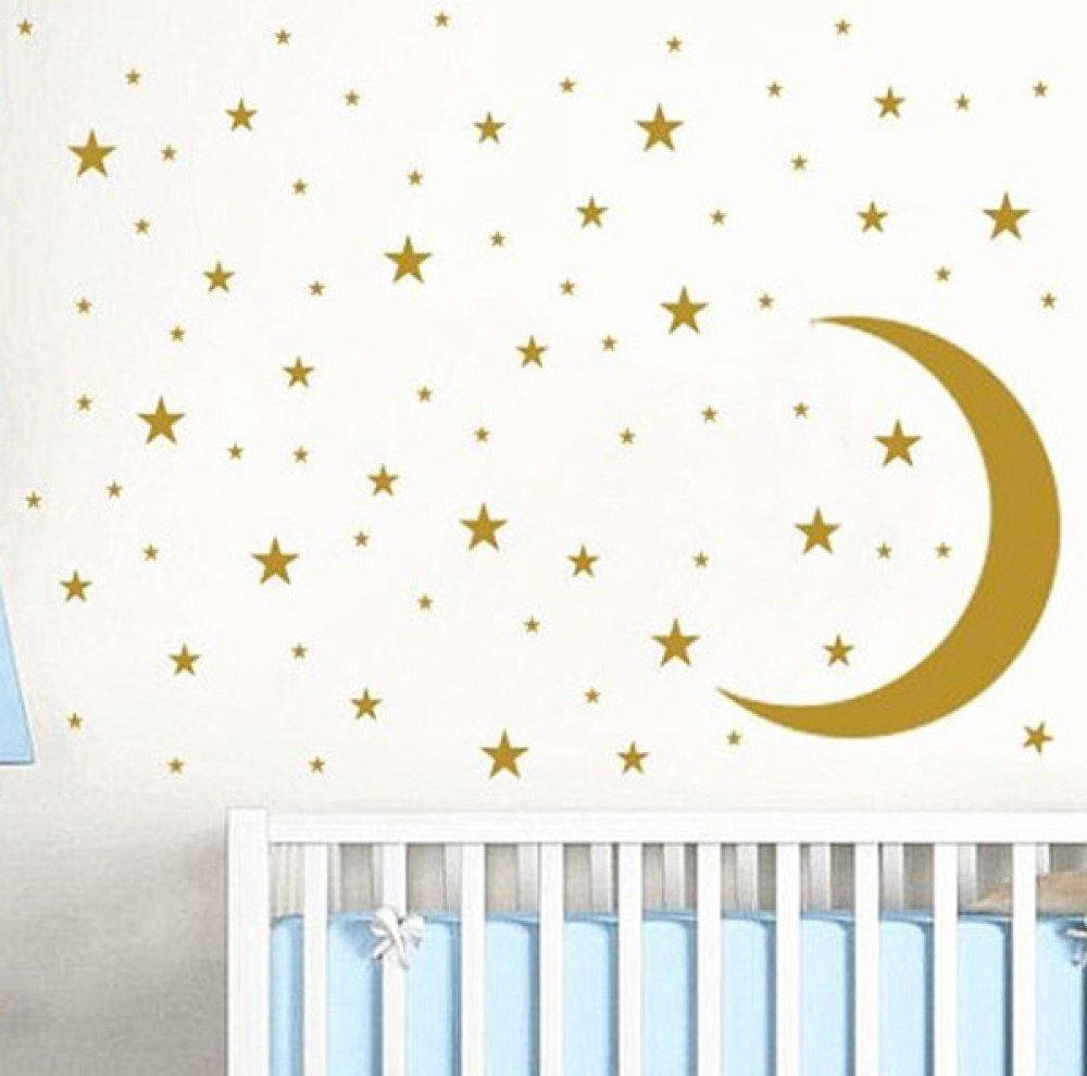 Stickers lune décoration murale chambre enfant avec ses étoiles stickers  etoiles
