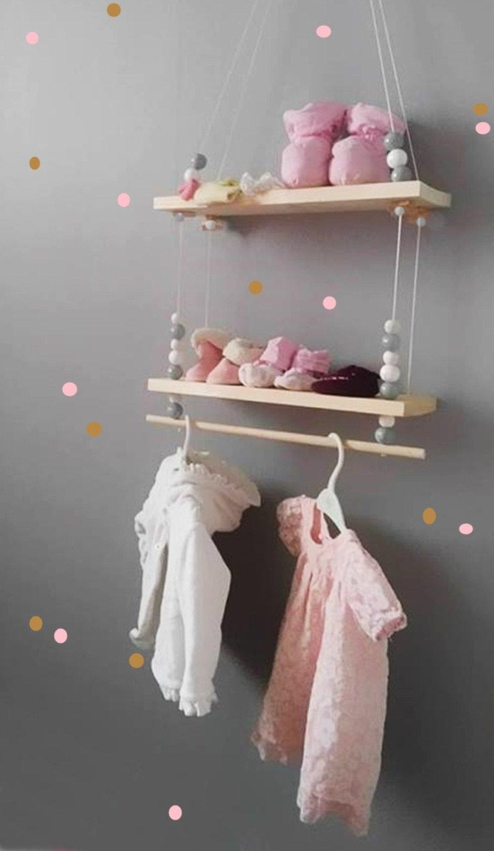Balançoire, étagère, en bois décoration chambre bébé, avec perle couleur naturel,style nordique, suspension, portique en bois