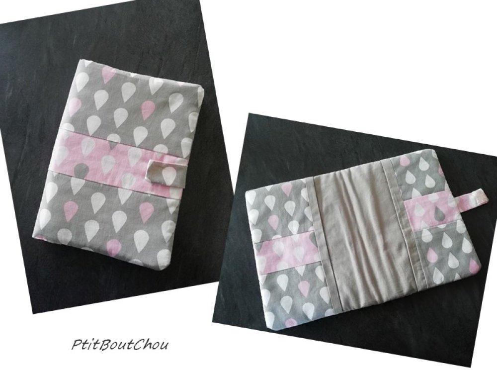 protège carnet de santé rose pastel gris taupe fait main bébé baby Protect health record