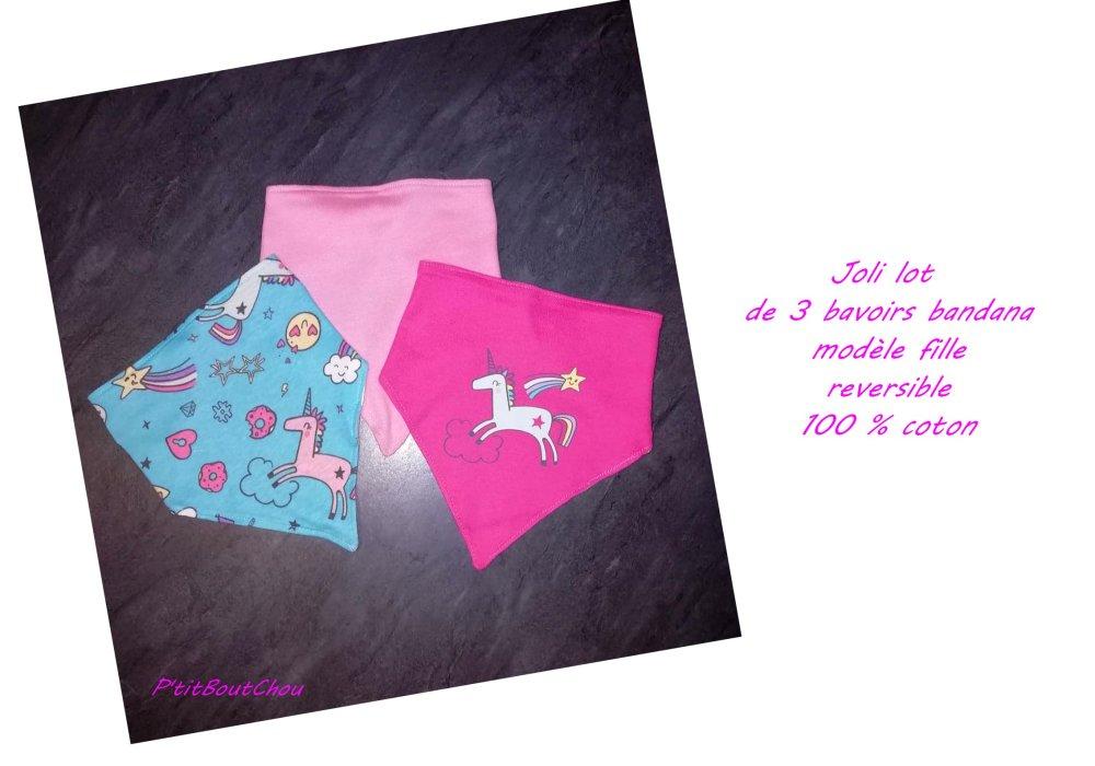 Joli lot de 3 bavoirs bandana à la mode motif licorne modèle fille 100 % coton, baby shower, cadeau bébé, bavoir dentition, bibs