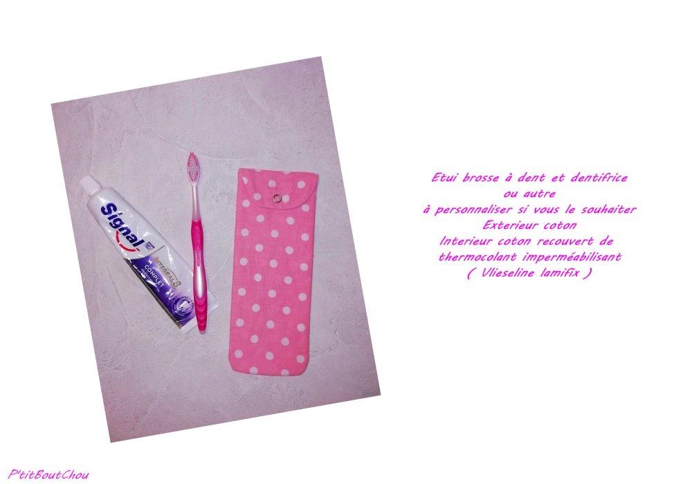 Etui / pochette à brosse à dent et dentifrice (ou autre)  PERSONNALISABLE
