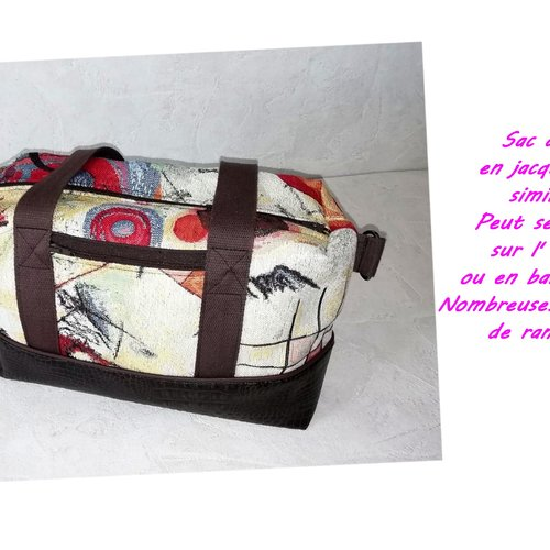 Sac à main femme bi-matière,hand bag ,fourre tout,nombreuse poche,made in france,fabrication francaise,hand made,fait main,au fil d'emilie